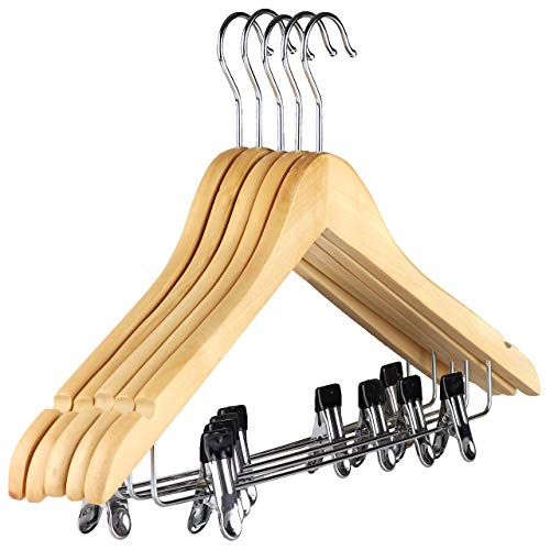 The Hanger Store 10 Wooden Suit Coat Clothes Hangers with bar and clips for...