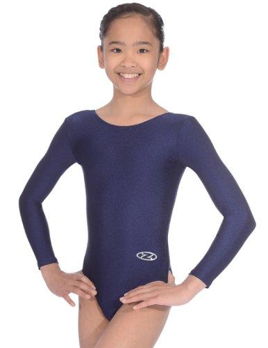 The Zone Z102RHA - Maillot de gimnasia de manga larga (nailon/lycra), color azul marino, talla 32 pulgadas