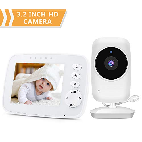 Video Baby Monitor with Camera,Baby Camera with No Glow Infrared Night Vision,Support Temperature Monitor,Two-Way Talk,Lullaby,Remote Zoom Video Monitor System KAMEP