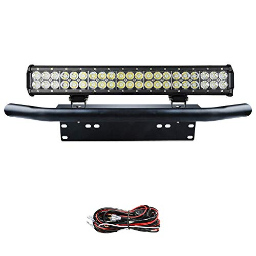 Willpower led light bar, 20 inch 126w spot flood combo beam work driving lamp met zwarte kentekenplaat montagebeugel kabelboom kit voor vrachtwagen auto atv suv 4x4 truck boat-c