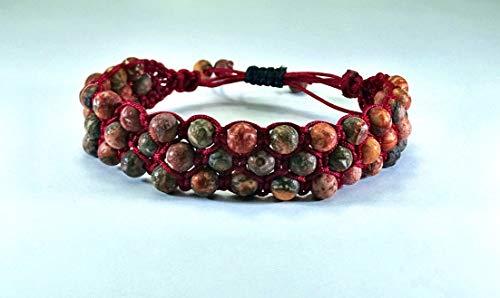Triple Shamballa-Armband aus Leopard Jaspis Naturstein Perlen, Unisex, verstellbar ab 17cm