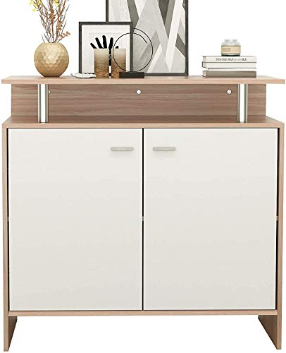 sogesfurniture 35.4inches Storage Console Kitchen Sideboard Buffet Wood Console Table Cupboard Storage Cabinet with 2 Doors and Shelf, Teak&White BHUS-SZKST-DFC