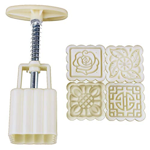 F-blue Riutilizzabile Piazza Hand Press Moon Cake Cookie Maker Stamp Mold Mid-Autumn Festival della Decorazione di DIY
