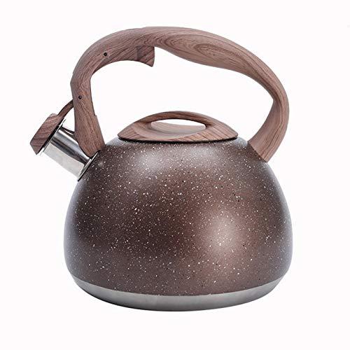 perfecti Flötenkessel Aus Edelstahl, 3L Induktion Teekessel Wasserkessel, Portable Teemaschinen Kocher, Camping, Marrón