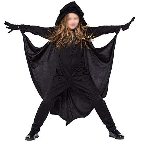 ShiyiUP Fledermaus Kostüm Kinder Flügel Jumpsuit Overall Mädchen Jungen Kostüm Halloween ,XL