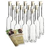 """200ml leere Glasflasche """"Opera"""" incl. Korken 12er Set zum selbst Abfüllen Likörflasche Schnapsflasche (12, 200 ml)"""