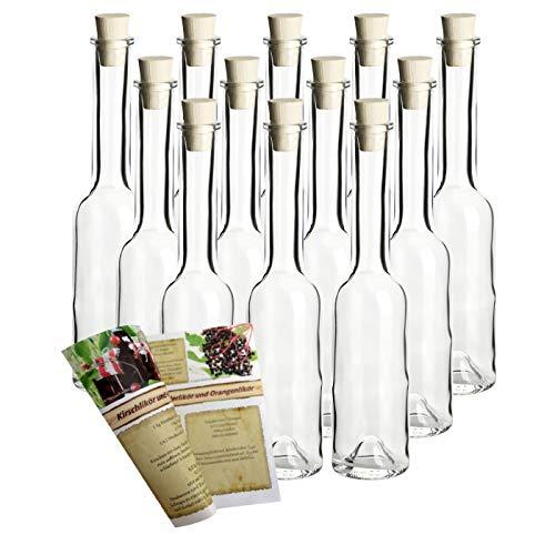 gouveo 12er Set Leere Glasflaschen Sinfonie 200 ml incl. Spitzkorken zum selbst Abfüllen Likörflasche Schnapsflasche, Öffnung 19mm
