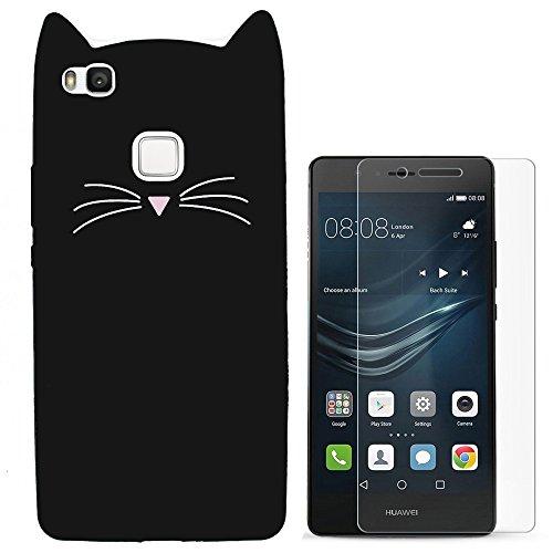 Hcheg Per Huawei P9 lite, Custodia Silicone Morbido Flessibile TPU Custodia Case Cover Protettivo Skin Caso (cat-Nero) schermo del telefono pellicola protettiva