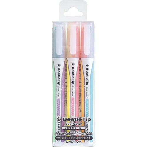 コクヨ 蛍光ペン 2色蛍光マーカー ビートルティップ・デュアルカラー ソフトカラー 3本6色セット PM-L313-3S