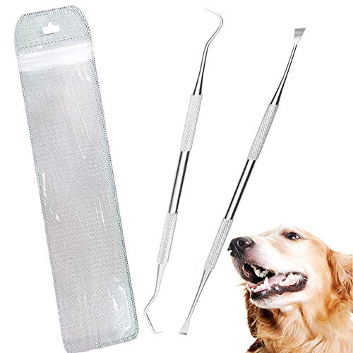 Wzhe Dog Tooth Scaler and Scraper - 2 Pack Upgrade Pet Tarter Remover with Different Angles Double Head , Stainless Steel Teeth Cleaning Tools for Dogs