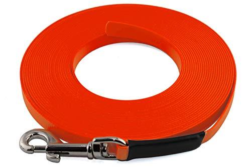 LENNIE Leichte BioThane Schleppleine, 9mm, Hunde 5-15kg, 5m lang, ohne Handschlaufe, Neon-Orange, genäht
