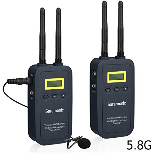 Draadloos lavalier-microfoonsysteem, Saramonic VMicLink5 Hi-Fi 5,8 GHz Revers Clip-on microfoon met bodypack-zender en draagbare ontvanger voor DSLR-camera's Camcorder TV Verzamelen