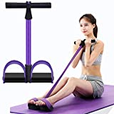 Kammoy 6-Tubes Tension Rope, Multifunction Elastic Yoga Pedal Puller Resistance Band, Natural Latex Tension Rope Fitness Equipment, for Abdomen, Waist, Arm, Leg Stretching Slimming Training(Purple)