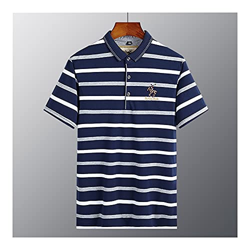 WanXingY 2021 Verano Moda Negocio Slim Fit Polo Camisa de Algodón Hombres Ropa Fina Casual Bordado Polo Camisa Tops Tops Grande (Color : Gray, Tamaño : S)