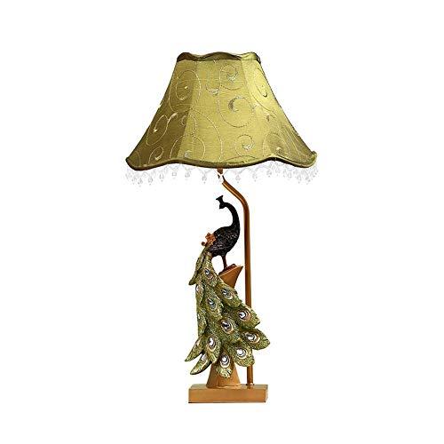 WEM Lámpara de mesa de diseño creativo Luz, decoración cálida Lámpara de mesa de pavo real 212 pulgadas Pantalla de tela alta Iluminación de la sala de estar del dormitorio E27-A,A