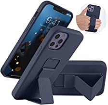 LAUDTEC Silicone Kickstand Case for iPhone 12/12 Pro case Vertical and Horizontal Stand Hand Strap Metal Kickstand, Flexible Soft Liquid Silicone Stand Case for iPhone 12/12 Pro (Midnight Blue)