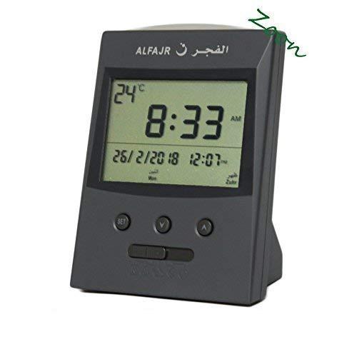 AlFajr CS-03 Azan Table Alarm Clock - from Saudi - Islamic Prayer Five Times - Extra Instruction Manual for USA Cities - ZOON