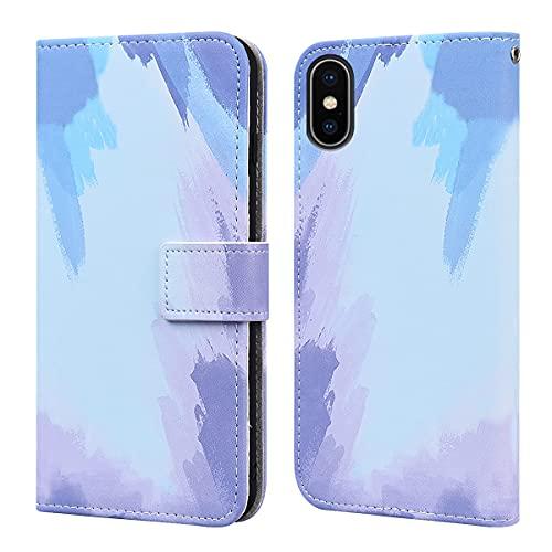 Annuo - Funda para iPhone XS Max (6,5 pulgadas), diseño de acuarela suave y agradable al tacto, diseño creativo magnético, a prueba de golpes, función atril, ranuras para tarjetas, color azul