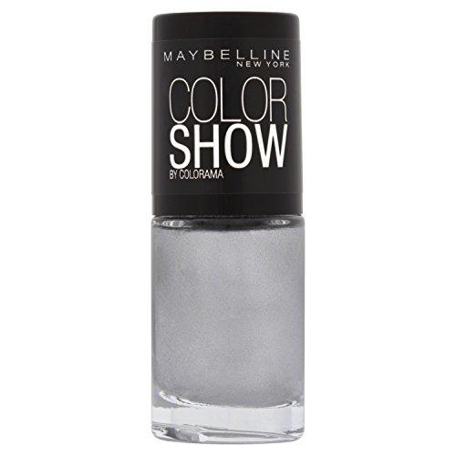 Maybelline ColorShow Nagellack, Nr. 107 Watery Waste, bringt die Laufsteg-Trends aus New York auf die Nägel, in schimmerndem silbergrau, 7 ml