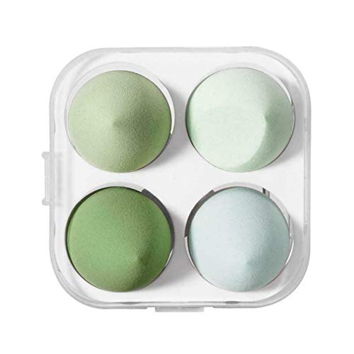 4 Pieces/Set of Beauty Makeup Powder Puff, Wet and Dry Water Droplets, Cut Noodle Ball, Beauty Cosmetics Foundation Mixed Application Powder Puff (Green)