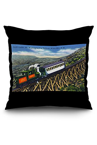 White Mts., New Hampshire - View of the Mt. Washington Cog Train Ascending Jacob's Ladder (20x20 Spun Polyester Pillow Case, Custom Border)