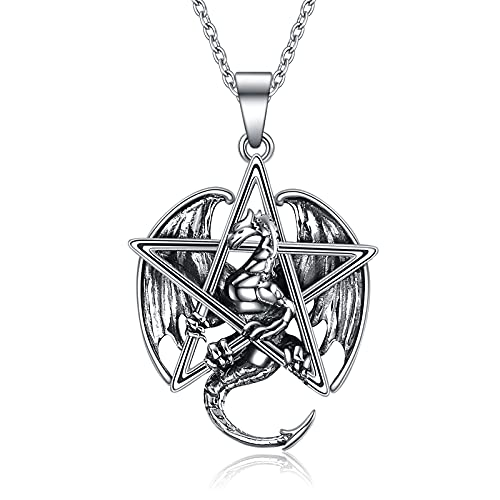 YFN Collar de dragón para mujer de plata de ley con pentagrama de Wiccan joyas para hombres y niñas