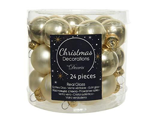 Christmas-Decorations 24 Mini - Weihnachtskugeln Glas 25mm Creme Hellcreme