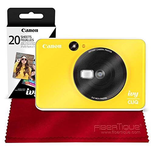 Canon Ivy CLIQ Instant Camera Printer (Bumble Bee Yellow) + 30 Sheets Photo Paper + Basic Accessories Bundle (USA Warranty)