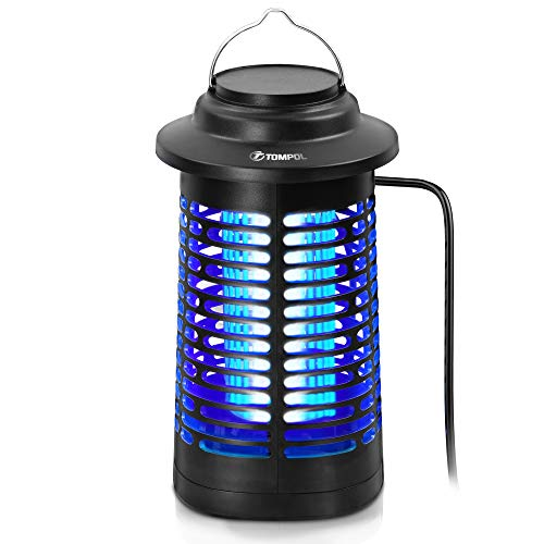 TOMPOL Bug Zapper for Outdoor and Indoor, Waterproof Insect Fly Pest Attractant Trap, 4200V Powered Electric Mosquito Zappers Killer for Backyard, Patio (Black)