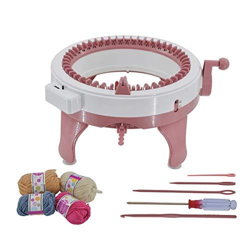 Poweka Strickmaschine 48 Nadeln für Erwachsene und Kinder gelten für Socke, Mütze und Schal, Handstrickmaschine mit Reihenzähler und Vier Wollknäuel