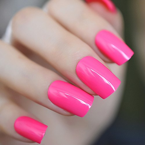 Echiq Rose vif Rose Faux ongles faux ongles effet UV carré Candy Couleur Faux ongles complète Conseils pour nail art manucure Accessoires