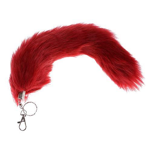 Kunstlich Fuchsschwanz Taschenanhänger Einfarbig Fuchsschweif Schlüsselanhänger Rucksack Deko Anhänger Metall Schlüsselbund Damentasche Deko 34cm (Rot)