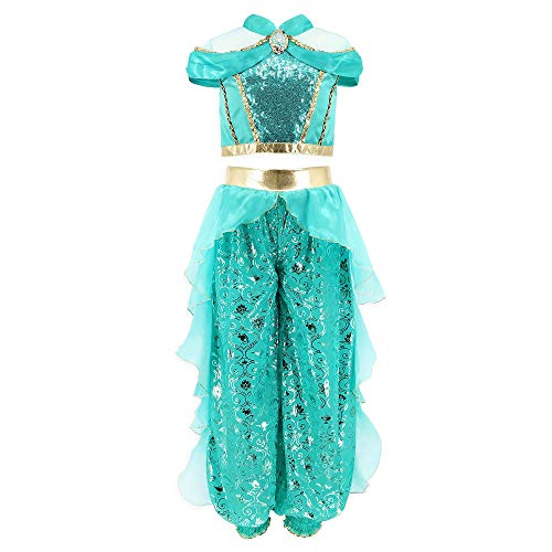 Disney Jasmine Costume for Girls  Aladdin, Size 4 Turquoise