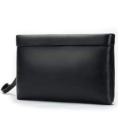 NIUCUNZH Handbag for Men Clutch Bag Hand Purse Large Wallet with Wristlet,Soft Cowhide Leather Black