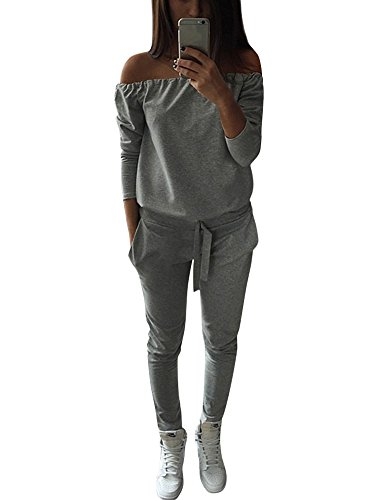 Tomwell Damen Trainingsanzug Set - Sweatshirt + Hosen Jogger Sportanzüge - Highdas Grau DE 38