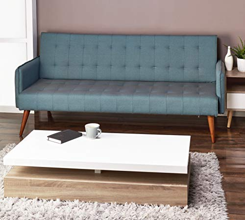 Scandi Scandinavian Chic Modern Teal Blue Comfortable Space Saving 3 Seater Sofa Furniture Folding Click Clack Sofa Bed Fabric Settee Couch Mid Century Wooden Legs