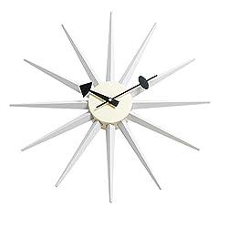 MLF George Nelson Sunburst Clock, Atomic Wooden Wall Clock Mid Century Antique Retro Nelson Style(White)