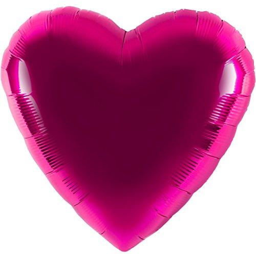 Ballon Folienballon Luftballon - Herzballon Pink - Hochzeit Deko Geburtstag Valentinstag Hochzeitsantrag - geeignet zur befüllung mit Helium Gas Ballongas oder Luft - UNGEFÜLLT - zum selber füllen