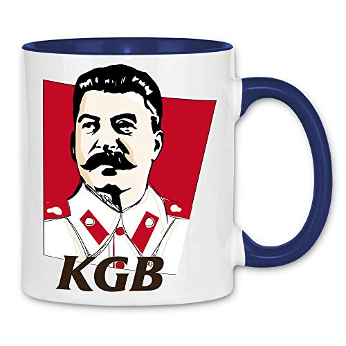 wowshirt Tasse Stalin Putin Logo Parodie KGB Russland, Farbe:White - Navy