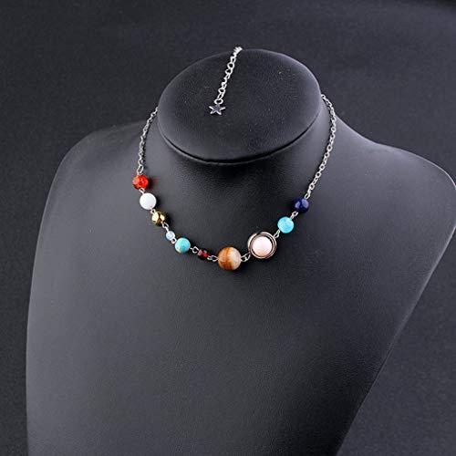Weisin Collar suéter cadena joyería colgante collar universo galaxia planetas sistema solar Guardian Star Stone Beads Collares suéter, plata