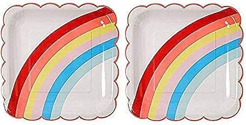 Meri Meri Lot de 12 assiettes en papier Blanc avec arc-en-ciel. 2-(Pack)