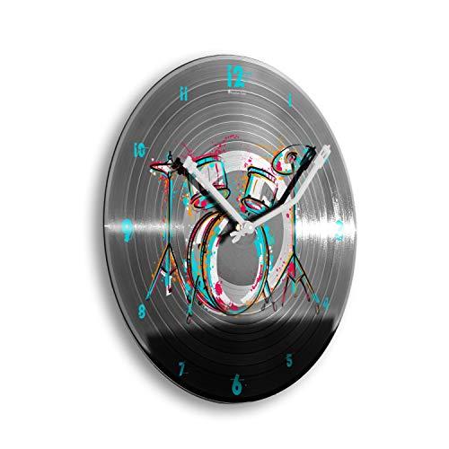 Kreative Feder Drum Kit Schlagzeug bunt Schallplatten-Uhr Retro Vinyl Designer Funk Wanduhr leise Funkuhr ohne Ticken 30cm WSP012FL (leises Funkuhrwerk)
