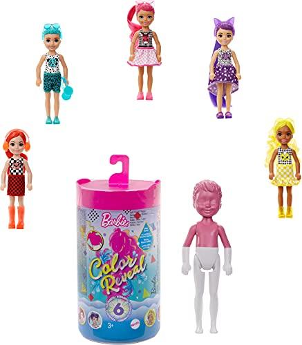 Barbie Color Reveal Mini-Poupée Chelsea avec 6 éléments Mystère, Série Monochrome, 4 Sachets Surprise, Modèle Aléatoire, Jouet pour Enfant, GTT24