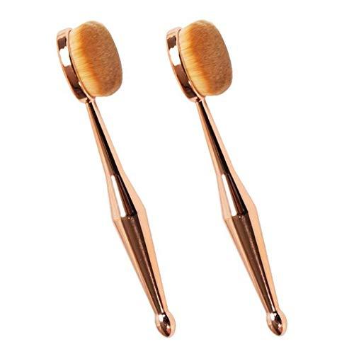XLKJ 2 Stück Professionelle Kosmetikpinsel Oval Make-up Pinsel Set, Foundation Concealer Pinsel Pulver Creme Kosmetik Pinsel, Zahnbürste Makeup Pinsel(Rotgold)