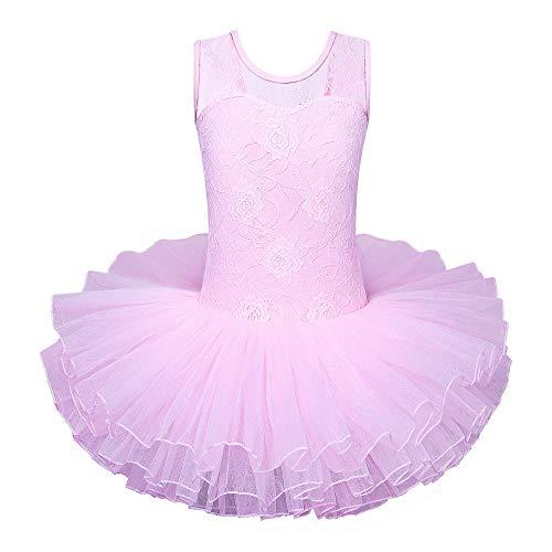 ZNYUNE Mädchen Kinder Ballettkleid Ballettanzug Trikot Leotard Ballettbekleidung Ballettbody Rot 6-7 Jahre
