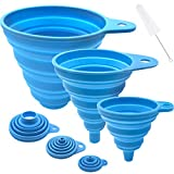 Funnels for Filling Bottles, Silicone Food-Grade Funnel, Kitchen Funnel Set of 3, Food Funnel for Filling Liquid, Powder, Solid Beans Transfer…