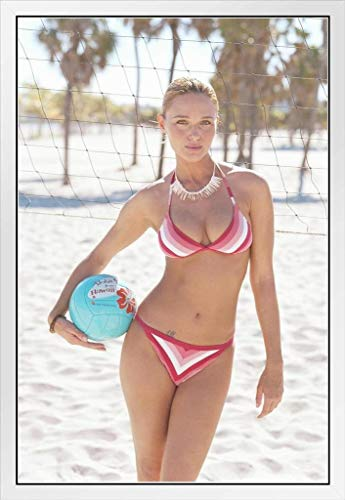 Sexy Girl in Bikini Holding Volleyball at Beach Photo Photograph White Wood Framed Poster 20x14