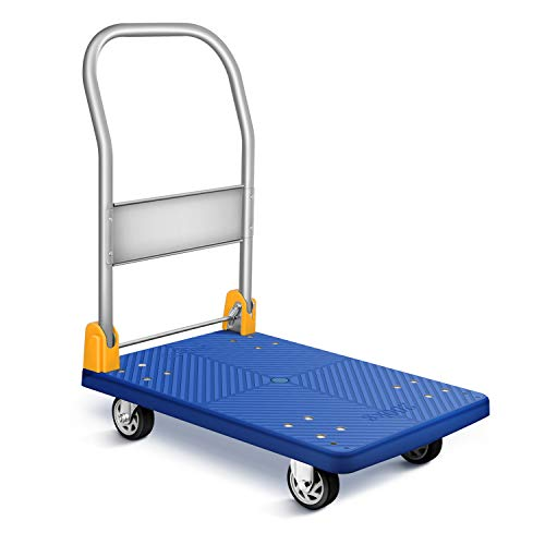 YSSOA Platform Truck with 440lb Weight Capacity and 360 Degree Swivel Wheels, Foldable Push Hand Cart for Loading and Storage, Blue