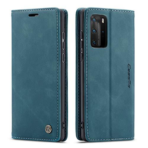 QLTYPRI Hülle für Huawei P40 Pro, Vintage Dünne Handyhülle mit Kartenfach Geldtasche Standfunktion PU Ledertasche TPU Bumper Flip Schutzhülle Kompatibel mit Huawei P40 Pro - Blau