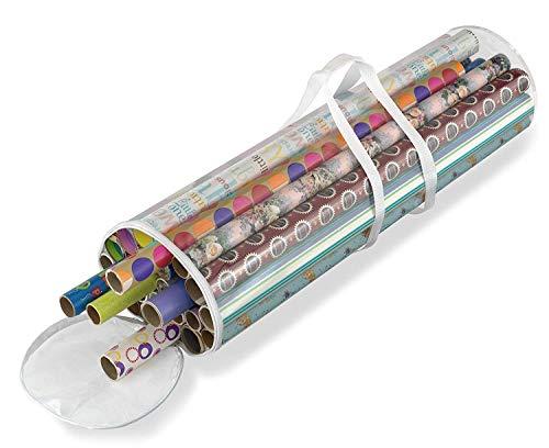 Fineway Aufbewahrungsbox für Weihnachtsgeschenk, zylinderförmig, transparent, für Weihnachten, Weihnachten, Weihnachten, Weihnachten, Weihnachten, Lametta, Lichter, Schleifen, robustes Material